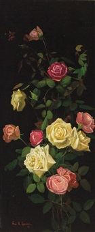 pink and yellow roses by george cochran lambdin