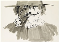 portrait of a man with a wide-brimmed hat by leonard baskin
