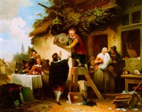 a town scene with figures by an inn - the dismantling of the jan steen tavern by aimé pez