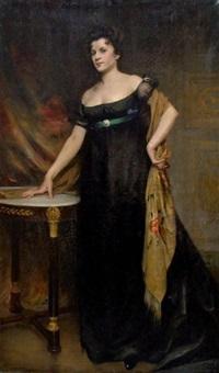 elégante à la robe noire by etienne-albert-eugène joannon