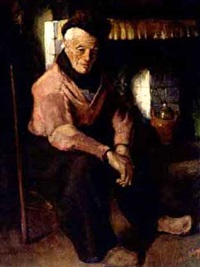a volendam fisherman in an interior by adrianus bleys
