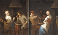 peasants merrymaking in a tavern interior by gerrit lundens