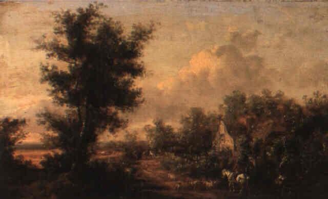 landskap med ryttare och boskap vid byggnad by henry milbourne