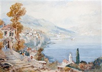 italian lake scenes (pair) by andrea vasari