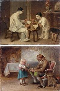 pierrot avec enfant déguisé en pierrot et petite fille versant du vin (2 works) by paul léon jazet