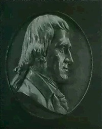 a bronze portrait relief of thomas jefferson by henry kirke brown