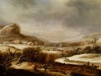 winterlandschaft mit figurenstaffage by dirck dircksz van santvoort