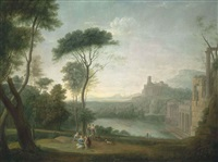 an extensive italianate wooded landscape, with classical buildings by a river, the nymph egeria mourning over numa in the foreground by hendrick frans van lint