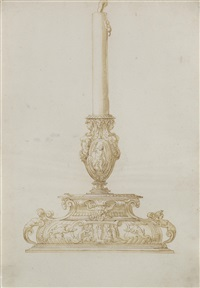 design for a candlestand with zeus, an eagle and a thunderbolt by jacopo strada