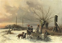 children gathering firewood on the ice by jan geerard smits