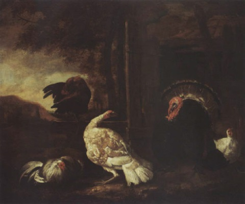 landscape with chickens turkey and a rabbit by abraham de haen the elder