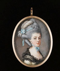 a lady, wearing white dress, pink lace underslip and black lace shawl tied about her shoulders, drop pearl earring, pale blue ribbon tied about her neck, a further blue ribbon in her upswept hair by samuel cotes