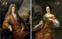portrait of a nobleman, of the asch van wijck family (+ portrait of an elegant lady; pair) by martinus de la court