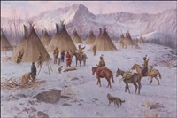 winter indian encampment - hunters return by john walter scott