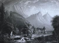 romantische gebirgslandschaft mit staffage by heinrich august mansfeld