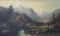 western landscape with native american settlement by henry arthur elkins