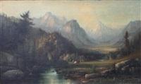 western landscape with native american settlement by henry arthur elkins