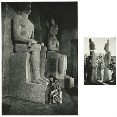 décor de statues monumentales la terre des pharaons howard hawks 3 works by david chim seymour
