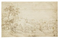 village by river with bridge and two windows a study with differences for the print by cornelis visscher by jacob grimmer