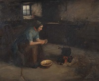 a crofter's cottage with figure preparing the evening meal by henry john dobson