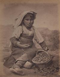jeune femme de l'île de chiogga, venise; jeune marchande de fraises, environ des abbruzzi (2 works) by carlo naya