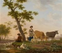 zwei landschaften mit hirtenstaffage (2 works) by frans swagers