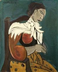 femme au tricot by marcel burtin