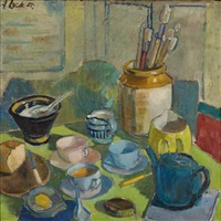still life with tea setting and paint brushes by freida lock