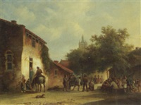 village square with figures by warner gyselman