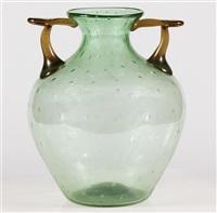 raro vetro in bulicante ed anse a pasta ambra by barovier seguso & ferro murano