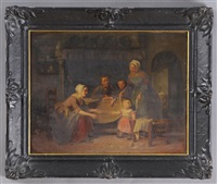 family time - interior scene by theodore bernard de heuvel
