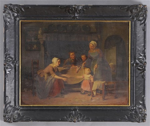 family time interior scene by theodore bernard de heuvel