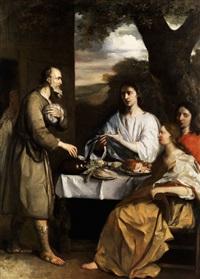 abraham bewirtet die drei engel by alonso del (il sordillo) arco