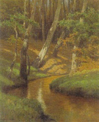 bachlauf im laubwald by heinrich harder