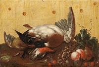 stilleben med fåglar och frukter mot en brädvägg by johan abraham aleander