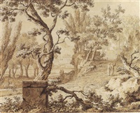 arcadian landscape with figures conversing on a path by johannes de bosch