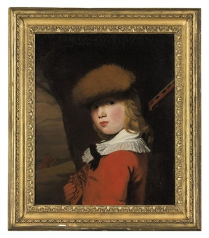 portrait of a boy in a red coat with a white collar and a fur hat holding a gun in a landscape by john opie