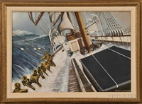fore lee brace. sailors on deck in a storm by antonio jacobsen