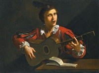 a guitar-player seated in an interior by pietro paolini