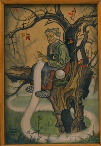fairy tale illustration: old woman knitting in a tree by franz wacik