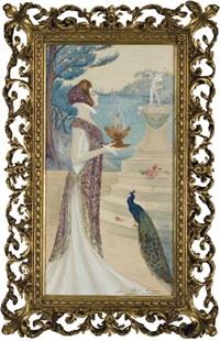 femme tenant un encensoir avec un paon à ses pieds devant un escalier by jane atche
