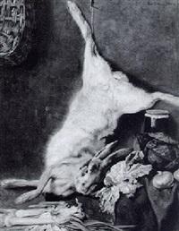 küchenstilleben mit erlegtem hasen by peter von hamme-voitus