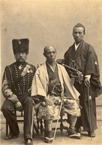 deux membres de l'ambassade du japon en compagnie d'un officier français by nadar