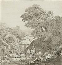 südliche landschaft mit viadukt und rastenden hirten, im hintergrund mit blick auf eine bergfeste by johann jakob dorner the younger