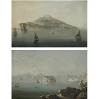 a view of the island of ischia (+ a view of the bay of naples from the punta di posillipo; pair) by pietro antoniani