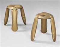 plopp teflon gold stools (pair) by oskar zieta