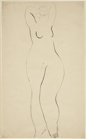 femme nue debout jambe gauche en avant by sanyu
