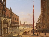 venice, a view of saint mark's square; venice, a view of the palazzo ducale and the riva degli schiavoni (pair) by frans vervloet