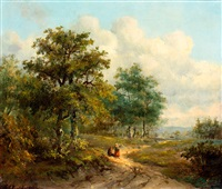 landweg aan de bosrand by marinus adrianus koekkoek the elder
