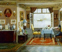 a drawing room interior with a view of venice through an open window beyond by cesare vianello